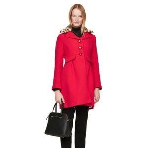 kate spade Jackets & Coats - Kate Spade Red Wool Leopard Collar New York Coat